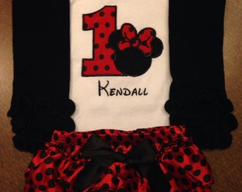 Black and red Minnie Mouse birthday outfit, red Minnie Mouse birthday outfit, Minnie Mouse birthday outfit