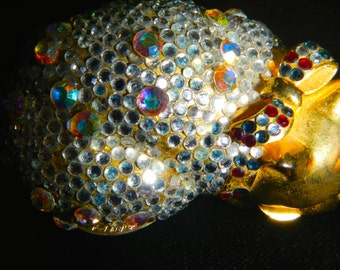 A Judith Leiber cat pillbox circa 1980 in pave rhinestones in great condition
