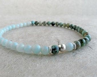 African Turquoise, Amazonite, Sterling Silver Bracelet, stretchy, minimalist, gemstone, stacking, green bracelet, Throat chakra