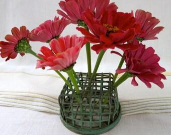 Vintage Green Floral Frog Cage by Dazey Flower Holder Company LA and CO, Green Floral/Flower Cage, Metal Flower Floral Cage