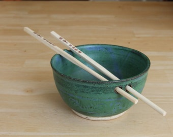 Pottery Rice Bowl and Chopsticks, chopstick bowl, Noodle bowl, Green, Mountain Mud Company