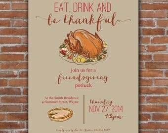 Thanksgiving, Friendsgiving Invitation - Custom Printable