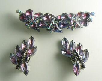 Vintage Hobe Purple Givre Rhinestone Demi Parure, Brooch and Clip Earrings