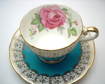 Vintage Aynsley tea cup and saucer , Large Pink Rose and Gold Fleur de lis, Turquoise Green and gold tea cup set,
