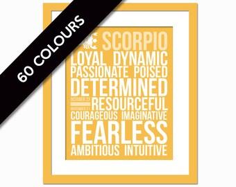 Scorpio Personality Character Traits - Subway Art - Scorpio Gift - Astrology Print - Zodiac Wall Art - Birthday Gift - Horoscope Art Print