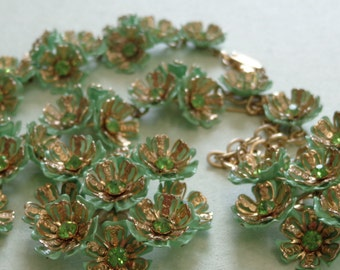 Vintage Parure Necklace Bracelet Earrings Green Enamel Flowers Rhinestones Gold Plated