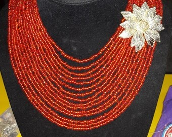 Nigerian African Wedding Traditional Bridal Party Red bead with gold brooch 15 Layered Jewellery set