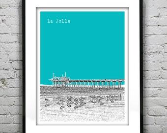 La Jolla California Poster Art Skyline Print Pier CA