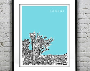 1 Day Only Sale 10% Off - Claremont California Poster Art Skyline Print CA
