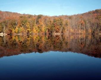 Lake Zoar landscape, Sandy Hook, Connecticut, nature photography, reflection, foliage