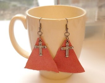 Pink leather cross earrings, pink suede earrings