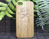 Lotus Flower iPhone 7 Case. Eco-Friendly Bamboo Wood Cover Water Reflection. Yoga Spiritual Enlightenment Buddhist Awakening