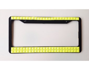 RockOnWear Neon Yellow Studded License Plate Frame Custom Car Accessory