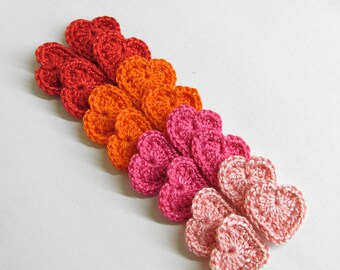 Crocheted hearts 0.8 inches red, pink, orange tiny appliques, set of 16