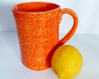 Orange Flower Ceramic Coffee Mug, Hand Built Stoneware Mug