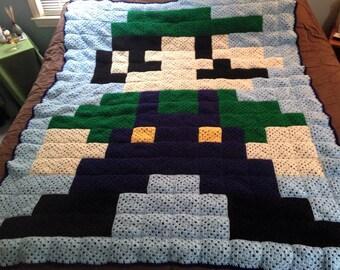 Super Mario's Luigi Crocheted Afghan (large)