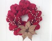 SALE Red Burlap Wreath with Burlap Poinsettia