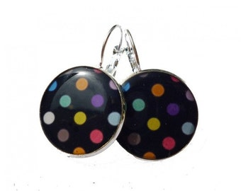 POLKA DOT EARRINGS - Earrings - Colorful Dots Earrings - Dots Dangle Earrings - Silver Earrings - Dot Jewelry