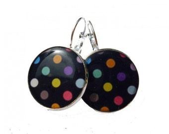 Colorful polka dots earrings, cute earrings, polka dots earrings, polka dot, polka dots jewelry, dangle earrings, black, colorful, spring