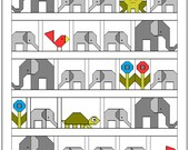 Elephant Parade Quilt Pattern, PDF,  instant download, modern patchwork, animal, solids, grey, white, green, red, blue