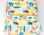 Waterproof backpack, elephants red backpack, laminate cotton rucksack, toddler girls' backpack, toddler boys's backpack, kindergarten bag
