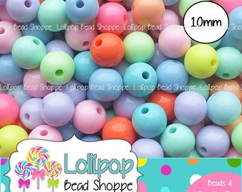 10mm Spring Pastel Gumball Beads, Solid Acrylic Bubblegum Beads, Round Gum Ball Beads, Plastic Easter Bubble Gum Beads, Mix Pkg 50 or 100