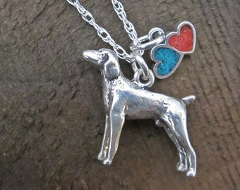 Large Weimaraner Double Heart Sterling Silver Necklace