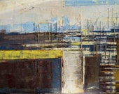"""Original oil painting, abstract modern canvas art, """"City of contrasts"""". Size 39.37 x 27.5 inch (100/70cm). Free Shipping!"""