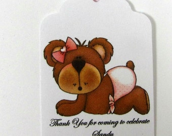 Baby shower tags, set of 12 baby shower tags, personalized tags for baby shower