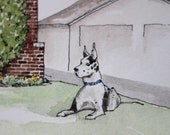 Custom House Portrait with Pet - Watercolor Illustrated House Portrait - New Home Housewarming