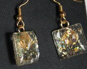 gold and iridescent glitter earrings glitter nail polish jewelry dangle sparkly fishhook style