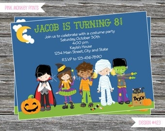 DIY - Halloween Costume Birthday Party Invitation # 423 - Coordinating Items Available