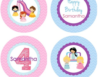 DIY - Girl Princess in the Park Birthday Party Cupcake Toppers # 303- Coordinating Items Available