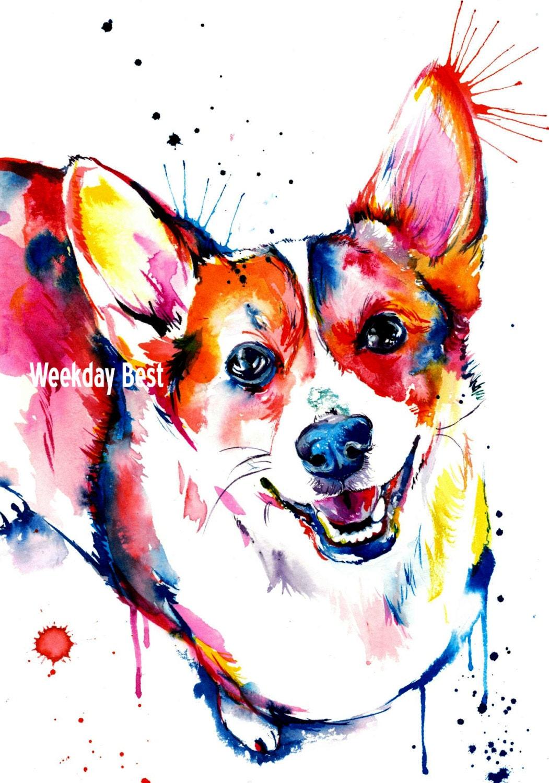 Colorful and splashy corgi art print print of my original for Painting of your dog