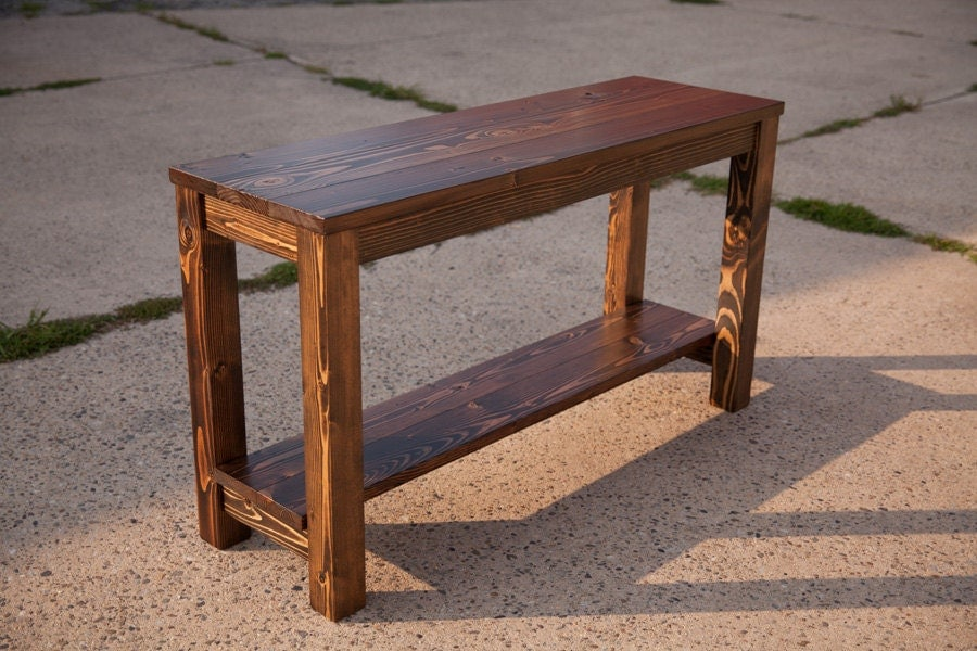 Farmhouse sofa table solid wood sofa table by emmorworks for Sofa table unfinished