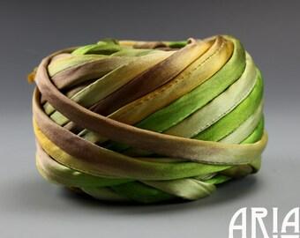 SILK SATIN CORD: Handpainted Variegated Silk Satin Cord for Necklaces, Wrap Bracelets & Embellishments by Shibori Girl Studios (1 Yard)