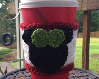 Christmas Minnie Mouse Inspired Coffee Cup Cozy/ Coffee Cup Sleeve/ Tea Cup Cozy -- White Red & Green