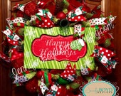 Happy Holidays Red and Green Christmas Mesh Wreath