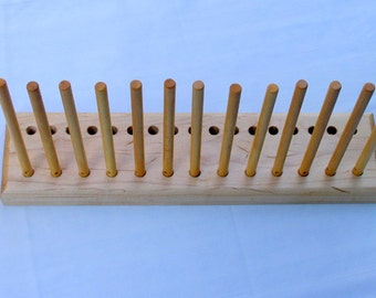 "2 Row Maple Peg Loom, 14"" Peg Loom with 17 Pegs, Hand made in Pennsylvania"