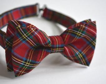 Bow Tie, Kids Bow Tie, boys Bow Tie, Tartan red bow tie, Bowtie red, Kids bow tie clip,red plaid bow tie