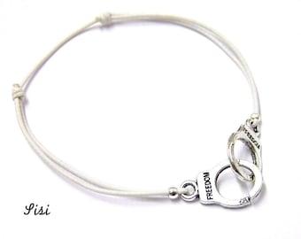 Silver cuff bracelet white cord