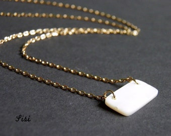 Rectancle necklace gold-plated pearl material