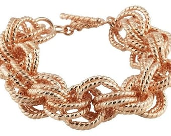 Fancy Copper 19mm Rope Link Chain Mail Statement Bracelet ~ FREE SHIPPING