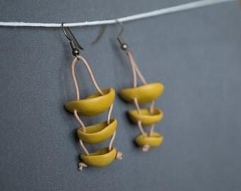 Beadwork earrings Boho earrings Dangle earrings Rustic earrings Olive green Ochre earrings Spring earrings Long Polymer clay earrings
