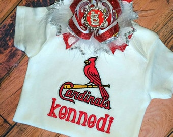 St. Louis Cardinals Personalized Bodysuit, - St Louis Cardinals Monogrammed Bodysuit, - STL Cardinals Bodysuit, - Baby Shower Gift