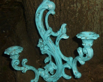 Upcyled Syroco Style, Distressed, Shabby Chic, Aqua, Wall Sconce, Candle Holder