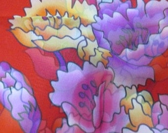 Painted Silk Scarf Tulips