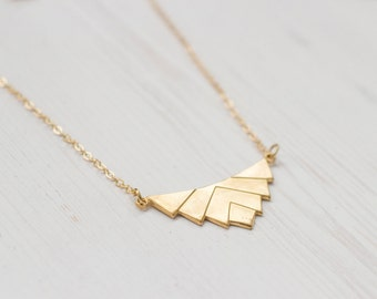 Geometric Chevron Brass Necklace 14k Goldfilled
