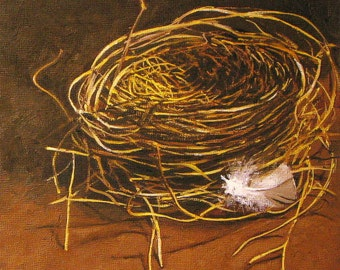 The Empty Nest nest art feather bird nest art bird nest prints empty nest art bird lovers nature paintings earth colors