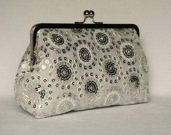 Evening Clutch, Wedding Clutch, Silver and White Clutch, Sequin Clutch, Clutch Purse, Glamorous Clutch, Bridal Clutch, Clutch bag